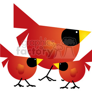 Red Cardinal 03 Family clipart. Royalty-free image # 387491