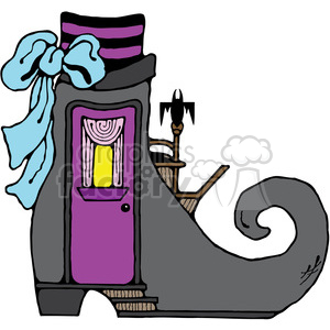 Witch Boot House in color clipart. Commercial use image # 387656