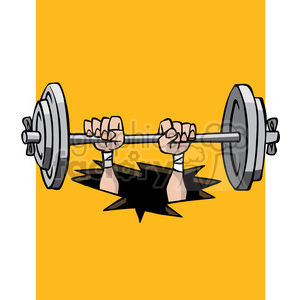 cartoon weight lifter falling through the floor clipart. Royalty-free image # 387788