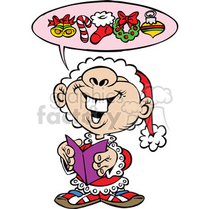 cartoon child singing Christmas caroler clipart. Royalty-free image # 387798