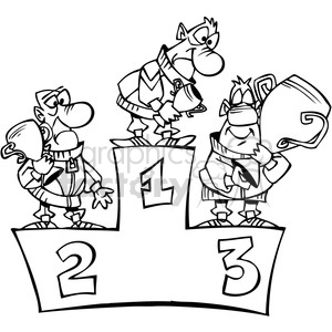 cartoon funny silly comical characters winner podium 1st 2nd 3rd second first third