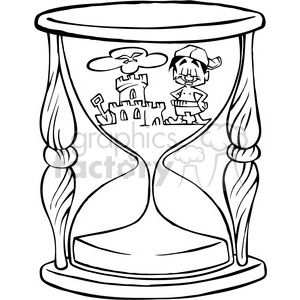 black and white cartoon hourglass clipart. Royalty-free image # 387828