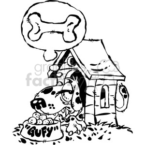 cartoon black white dog in a doghouse clipart. Royalty-free image # 387858