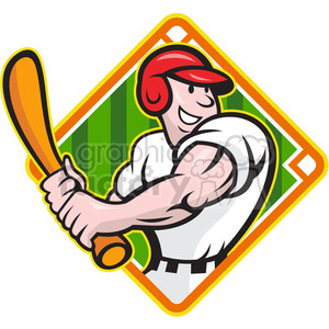 baseball player batting side DIAMOND HALF clipart. Commercial use image # 387882