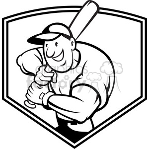 black and white baseball player batting front shield half clipart. Commercial use image # 387892