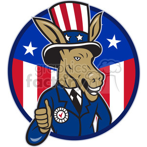 donkey democrat thumb up HALF US FLAG CIRC clipart. Commercial use image # 387902