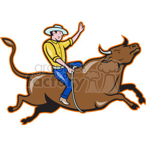 rodeo cowboy bull riding side right clipart. Royalty-free image # 388087