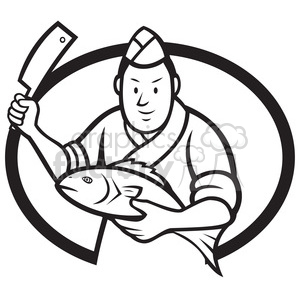 black and white japanese sushi chef fish knife OVAL clipart. Royalty-free image # 388107