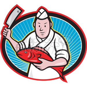 japanese sushi chef fish knife OVAL clipart. Royalty-free image # 388117
