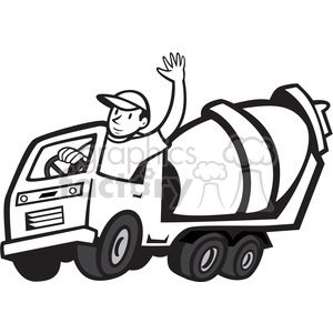 black and white cement mixer driver wave clipart. Commercial use image # 388147