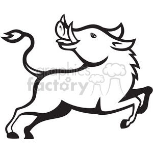 black and white razorback prancing clipart. Royalty-free image # 388187