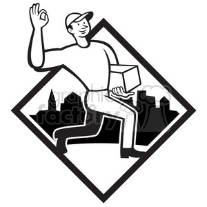 black and white delivery man okay sign clipart. Royalty-free image # 388207