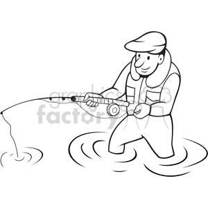 black and white fisherman dopping line side clipart. Commercial use image # 388267