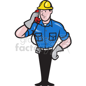 cartoon construction worker working career job labor foreman telephone phone employee