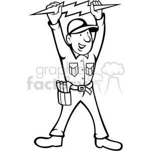 black and white electrician thunderbolt toolman clipart. Commercial use image # 388287