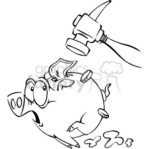 hammer chasing a piggy bank in black and white clipart. Royalty-free image # 388317