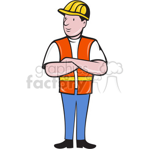 construction worker with folded arms