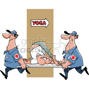 cartoon yoga stuck position rescue 911 emergency