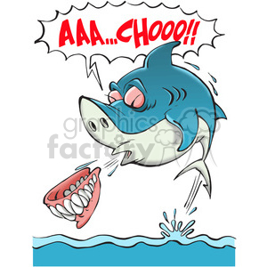 shark sneezing his teeth out clipart. Commercial use image # 388415