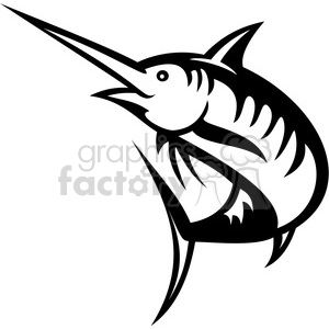 black and white swordfish outline clipart. Commercial use image # 388435