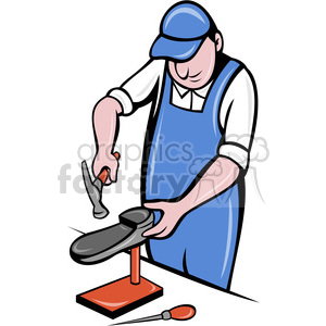 shoe maker working on shoes clipart. Royalty-free image # 388455