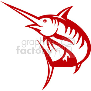 red swordfish outline clipart. Royalty-free image # 388465
