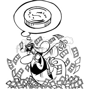 arab looking through a pile of money in black and white clipart. Commercial use image # 388495