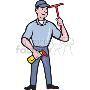window cleaner with squegee standing clipart. Royalty-free image # 388645