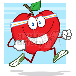 5783 Royalty Free Clip Art Healthy Red Apple Jogging clipart. Royalty-free image # 388665