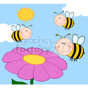 5598 Royalty Free Clip Art Smiling Bumble Bees Flying Over Flower clipart. Royalty-free image # 388695