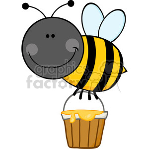 5604 Royalty Free Clip Art Smiling Bee Flying With A Honey Bucket clipart. Royalty-free image # 388715