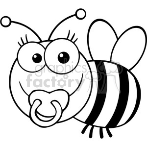 5606 Royalty Free Clip Art Baby Bee Cartoon Mascot Character clipart. Commercial use image # 388735