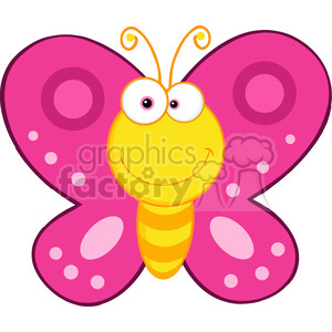 5614 royalty free clip art smiling butterfly cartoon mascot character