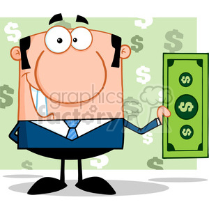 5568 Royalty Free Clip Art Smiling Business Man Holding A Dollar Bill clipart. Royalty-free image # 388767