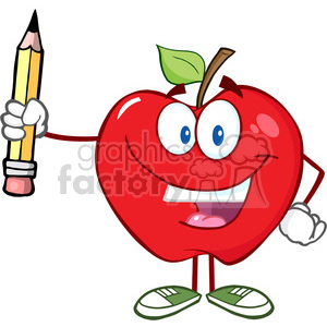 5786 Royalty Free Clip Art Happy Red Apple Holding Up A Pencil clipart. Commercial use image # 388787