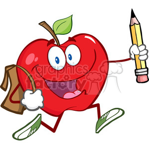 5801 Royalty Free Clip Art Happy Red Apple Character With School Bag And Pencil Goes To School clipart. Commercial use image # 388797
