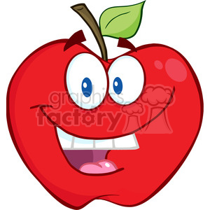 5751 Royalty Free Clip Art Smiling Apple Cartoon Mascot Character clipart. Royalty-free image # 388806