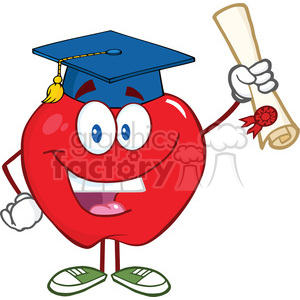 5757 Royalty Free Clip Art Happy Apple Character Graduate Holding A Diploma clipart. Commercial use image # 388867