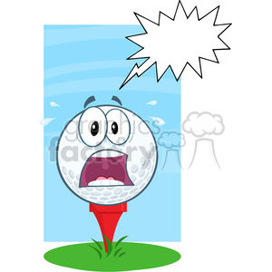 5705 Royalty Free Clip Art Panic Golf Ball Over Tee With Speech Bubble clipart. Royalty-free image # 388877