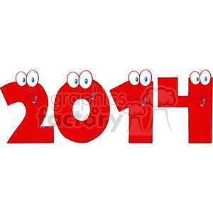 5661 royalty free clip art 2014 new year red numbers cartoon characters