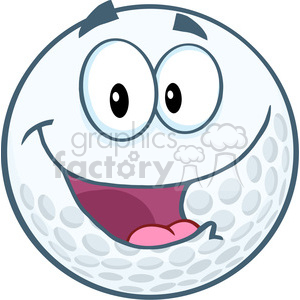 5701 Royalty Free Clip Art Happy Golf Ball Cartoon Mascot Character clipart. Royalty-free image # 388907