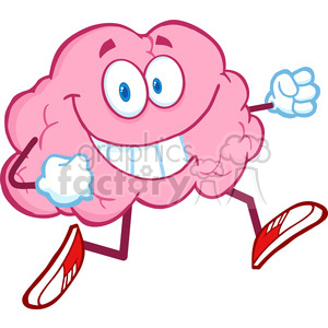 Royalty Free Clip Art Healthy Brain Cartoon Character Jogging clipart. Royalty-free image # 388937