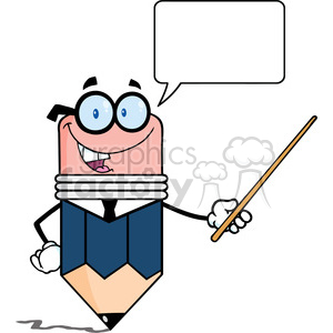 5890 Royalty Free Clip Art Business Pencil Cartoon Character Holding A Pointer clipart. Royalty-free image # 388967