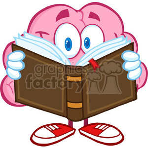 5839 Royalty Free Clip Art Smiling Brain Cartoon Character Reading A Book clipart. Royalty-free image # 388977