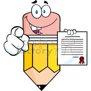 5934 Royalty Free Clip Art Smiling Pencil Cartoon Character Pointing With Finger And Holding A Contract clipart. Royalty-free image # 388997