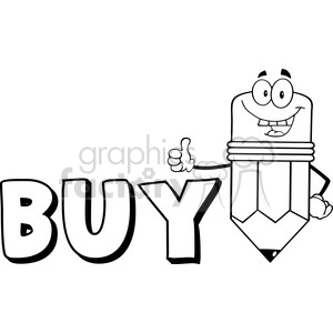 5943 Royalty Free Clip Art Happy Pencil Cartoon Character Giving A Thumb Up With Text Buy clipart. Commercial use image # 389007
