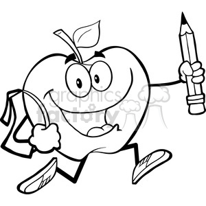 5970 Royalty Free Clip Art Happy Apple Character With School Bag And Pencil Goes To School clipart. Royalty-free image # 389037