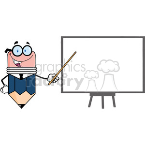 5891 Royalty Free Clip Art Business Pencil Cartoon Character With Pointer Presenting On A Board clipart. Royalty-free image # 389057