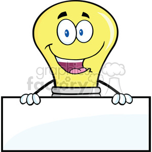 6031 Royalty Free Clip Art Smiling Light Buble Cartoon Character Over Blank Sign clipart. Commercial use image # 389077