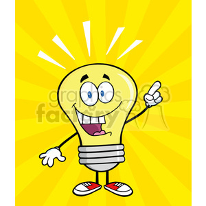 6040 Royalty Free Clip Art Light Bulb Cartoon Mascot Character With A Bright Idea clipart. Royalty-free image # 389097